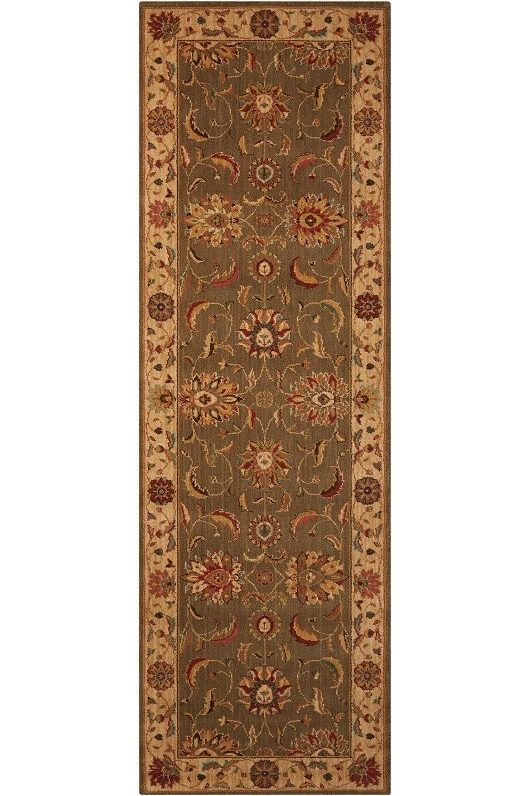 Living Treasures LI04 Green Runner Rug